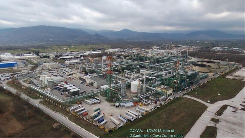 """An image of the Oil Center of the Agri Valley """"il Centro Olio Val d'Agri"""" (COVA)."""