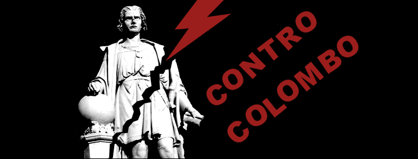"""Image description: the marble Columbus Statue that was once displayed at Marconi Plaza in South Philadelphia set against a black background with a crack going diagonally, struck by a red lightning bolt. In Red sans serif font the words """"CONTRO COLOMBO"""", Italian for """"against Columbus."""""""